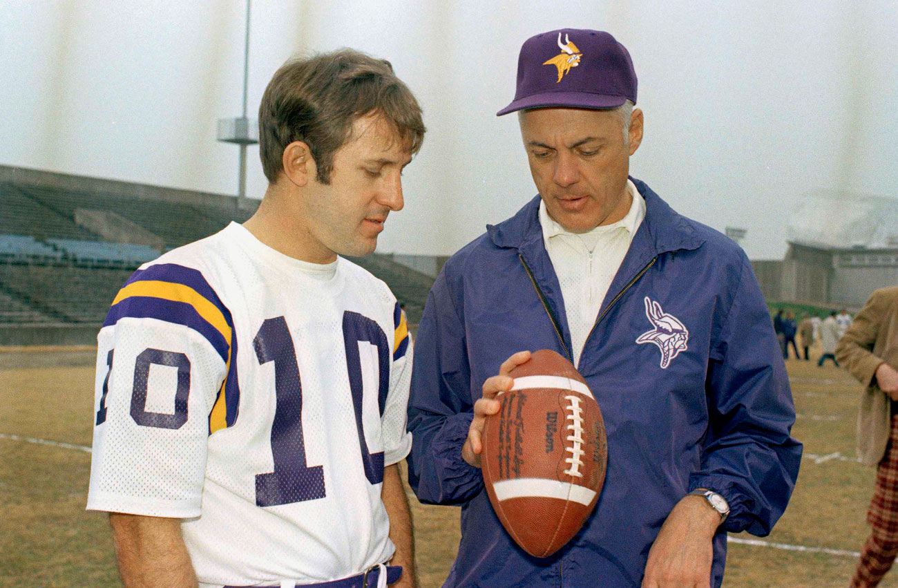 Fran Tarkenton and Bud Grant before Super Bowl IX. Tarkenton would be Grant's quarterback in three of his four Super Bowls.