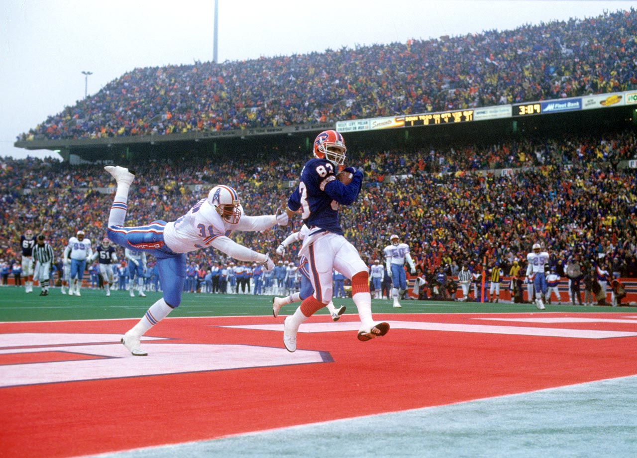 "The Bills trailed the Oilers 35-3 just after halftime in the Wild Card game now known as ""The Comeback."" It looked like Buffalo's quest for a third straight Super Bowl appearance would end in the first round. But Frank Reich threw four second-half touchdowns, including three to Andre Reed, and the Bills won 41-38 in overtime. Buffalo's victory remains the largest comeback in NFL history."