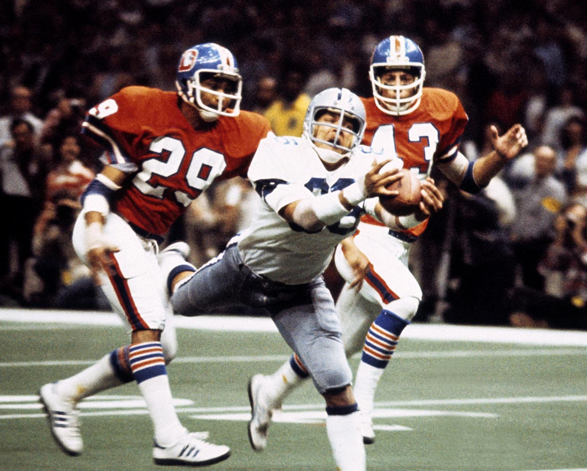 1977: Butch Johnson's diving TD catch for Dallas vs. Denver in Super Bowl XII.