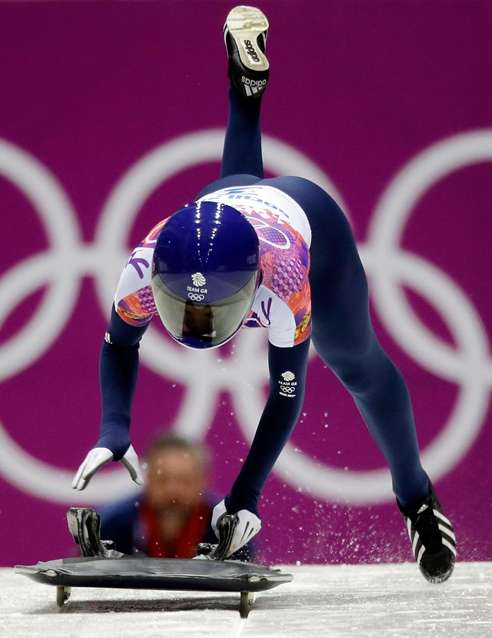 Shelley Rudman of Great Britain starts her final run during the women's skeleton competition.
