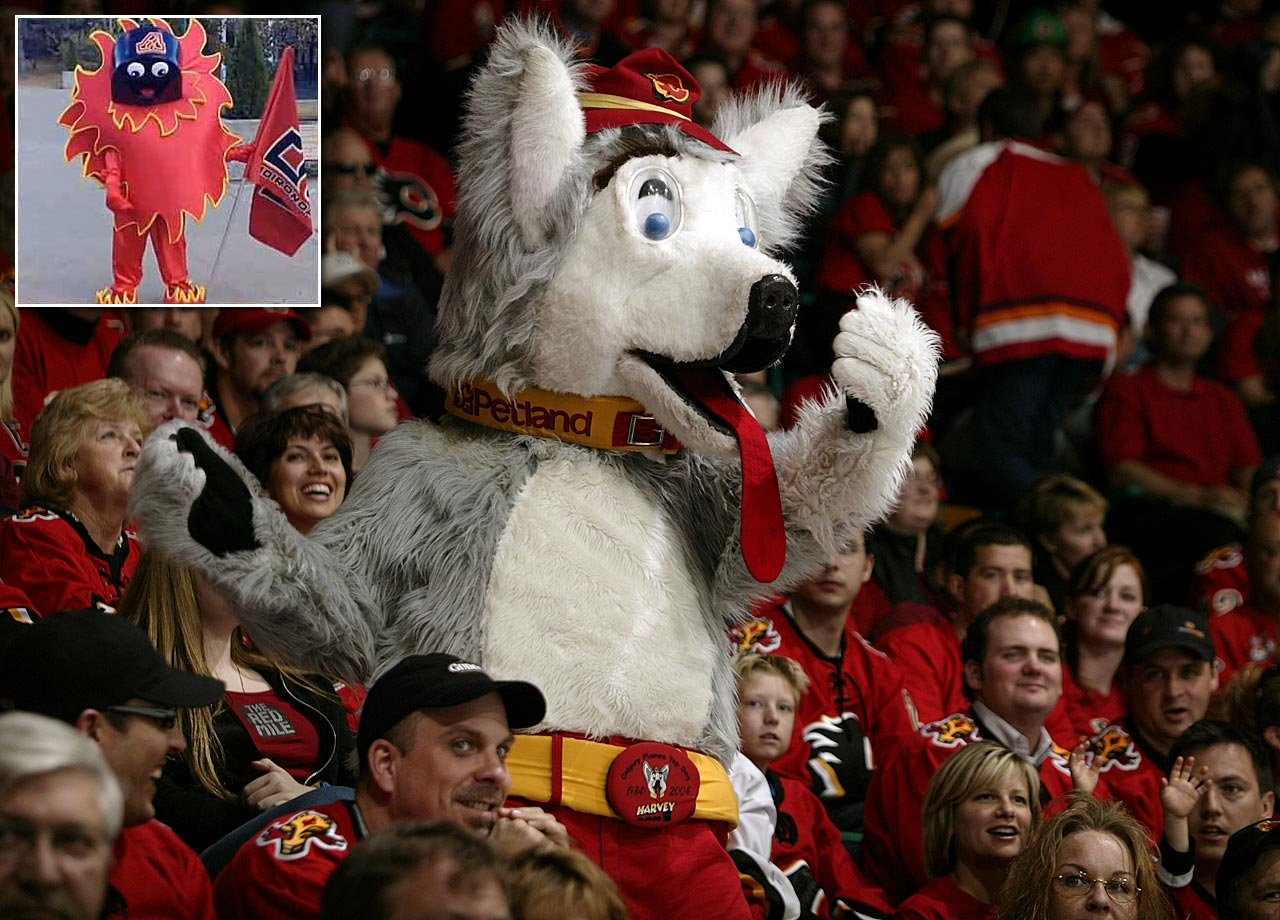 You'd think a team with a name like the Flames would employ a fire-themed mascot like the ill-fated Scorch (inset), but Harvey the Hound has been Calgary's alpha dog since 1984. His droopy tongue is the oddest thing about him, and it made an inviting target for Oilers coach Craig MacTavish, who ripped it out of Harvey's mouth during a 2003 game.