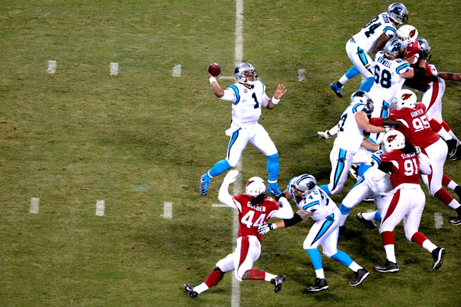 The Panthers' line kept Newton mostly clean against the Cardinals.