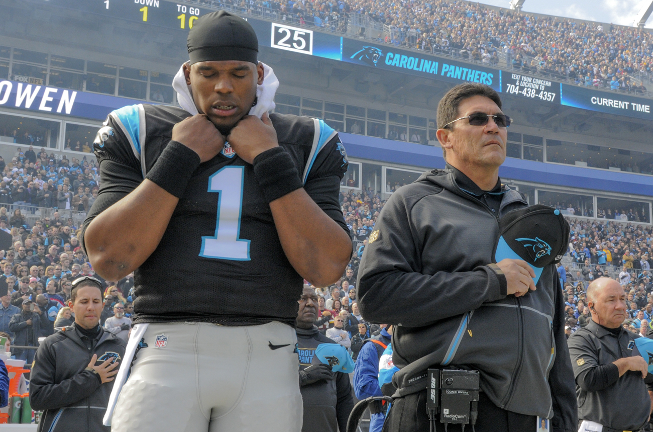 Cam Newton and Ron Rivera of the Carolina Panthers.