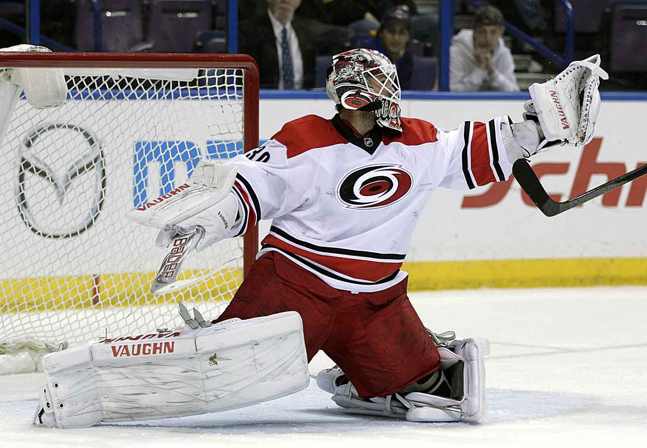 Eight years removed from his Conn Smythe-winning performance as a rookie, the 30-year-old goalie had a lousy season in 2013–14, with a 3.06 goals-against average and a .898 save percentage. And for the second-straight season, he was hampered by injuries. Ward's groin has since healed, but he's played the sixth most games among active goalies. His durability is a question mark.