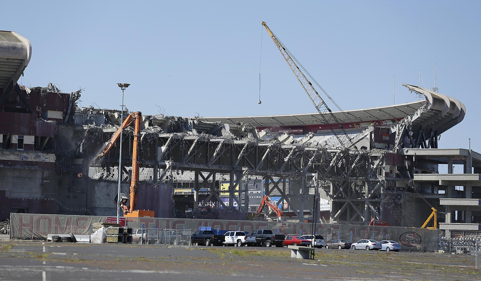 A wrecking ball drops on an upper seating section as demolition continues at Candlestick Park.