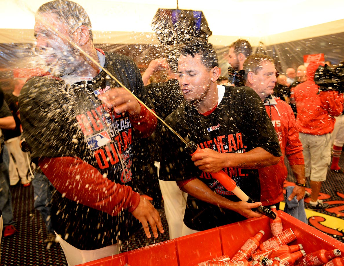 The St. Louis Cardinals celebrate their Game 4 NLDS victory over the Los Angeles Dodgers.
