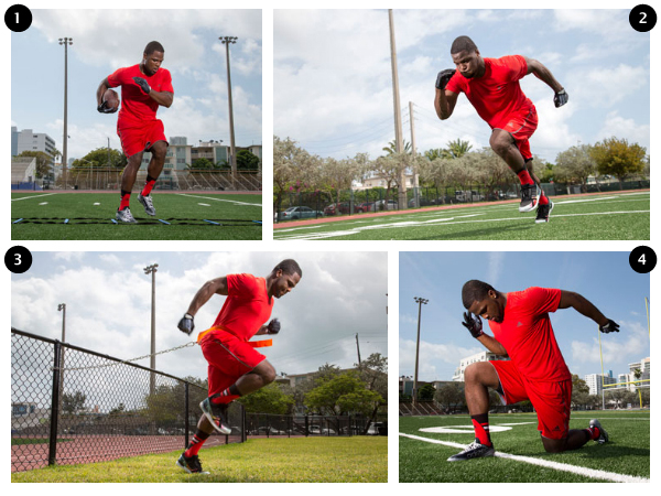 Carlos Hyde performing the (1) Speed Ladder, (2) Short Starts, (3) Belt Sprints and (4) Arm Pumps.