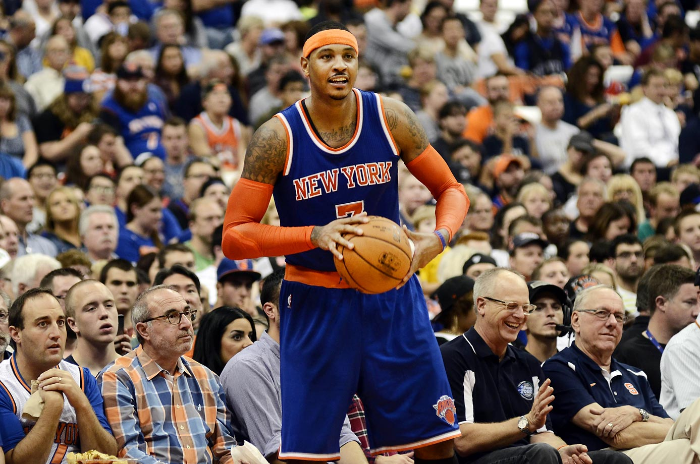 New York Knicks Carmelo Anthony playing the 76ers at the Carrier Dome with his college coach, Jim Boeheim, watching.