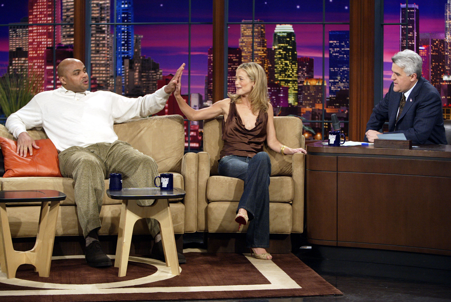 Charles Barkley, Carolyn Murphy and Jay Leno :: Getty Images