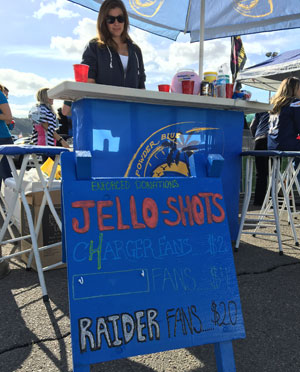 The lively tailgate scene in San Diego featured discriminatory Jello-shot pricing.