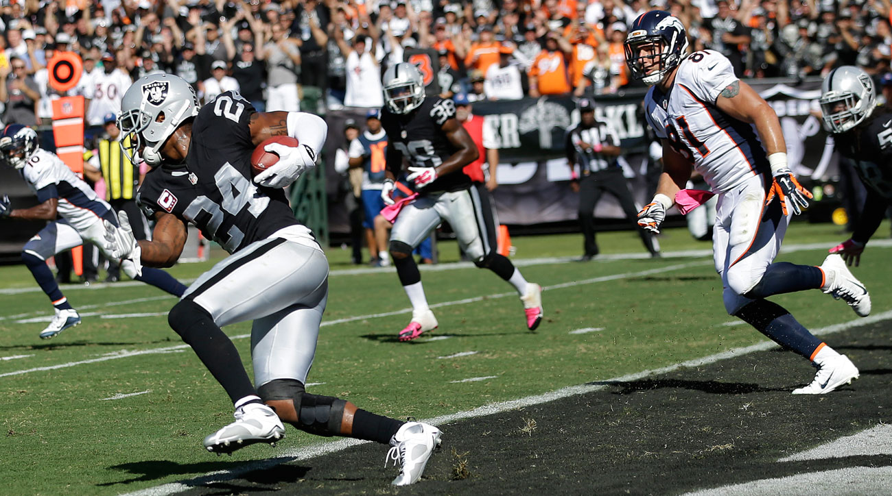 Woodson's first career pick of Peyton thwarted a Broncos scoring drive at the end of the first half.
