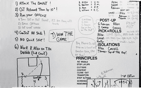 Coaches' strategy board for players to review :: Lynn Johnson/SI