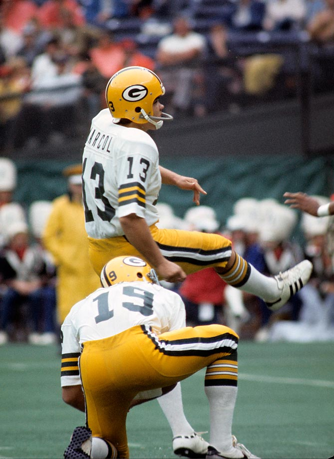 The Packers kicker lined up for a field goal to win a 1980 contest against the Bears in overtime. The kick was blocked, but the ball landed in Marcol's hands. He dashed for the corner of the end zone for the winning touchdown.