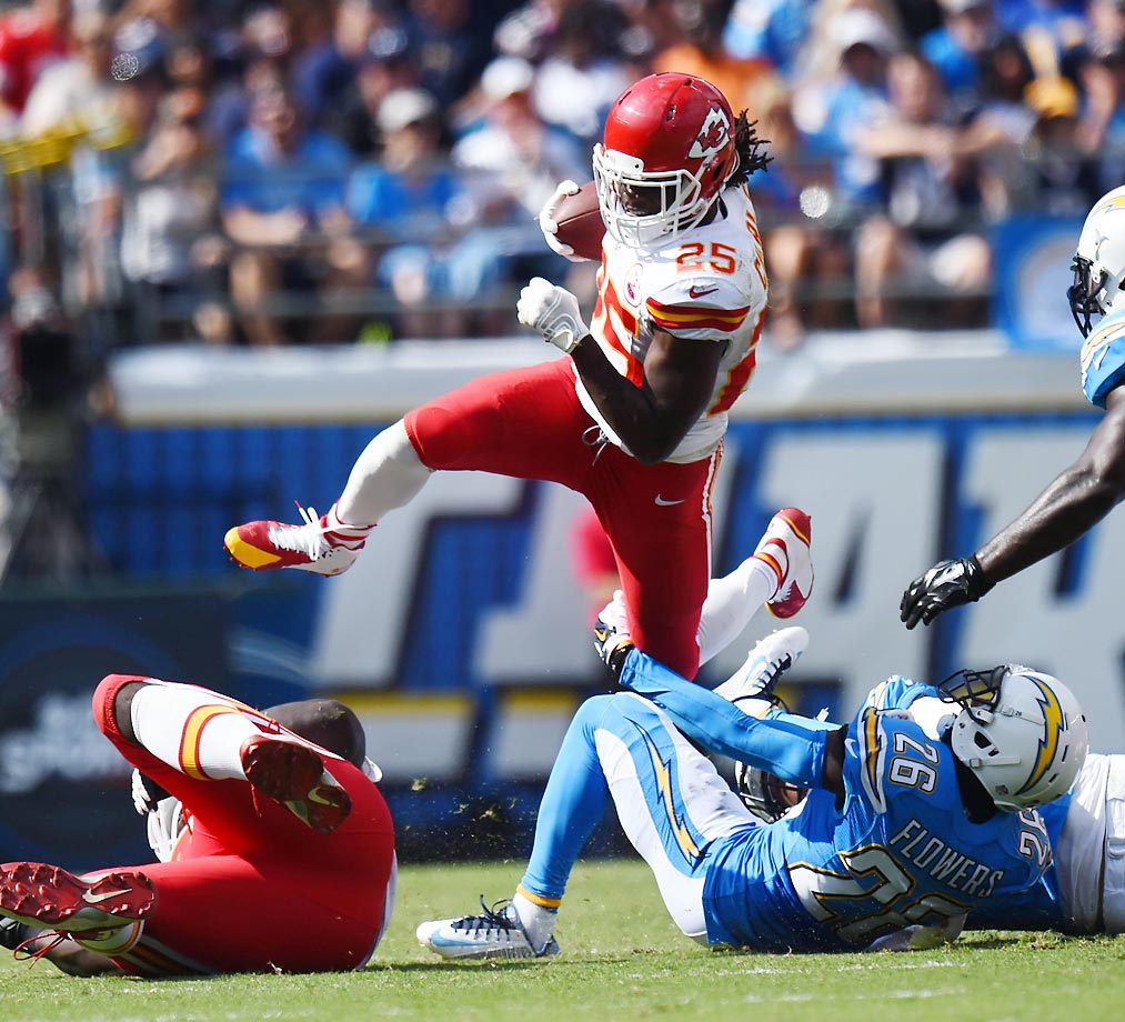 Jamaal Charles' 95 yards against the Chargers put him at 6,113 career yards to become the Kansas City Chiefs' all-time leading rusher.