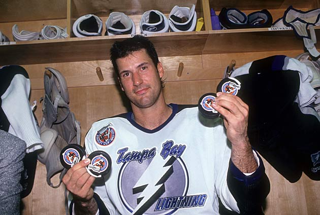 Forward Chris Kontos scored the Lightning's first goal and hat trick in the team's first game.