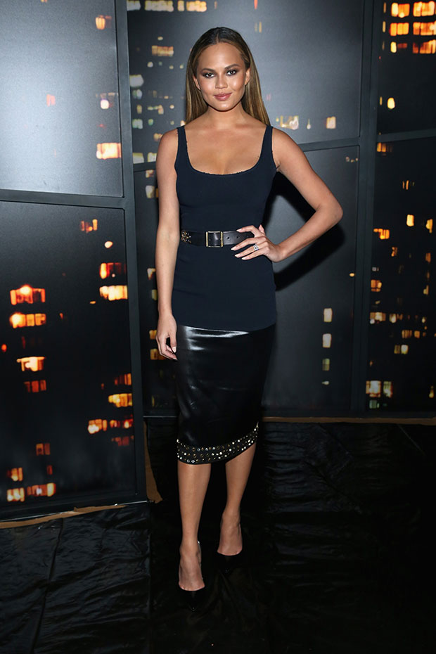 Chrissy Teigen attends the Donna Karan New York show at NYFW
