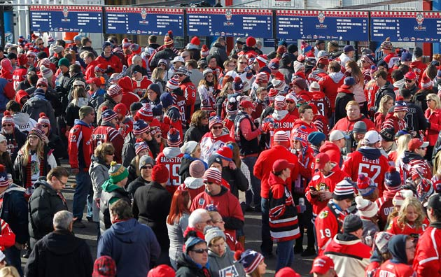 Fans filled Spectator Plaza before the game