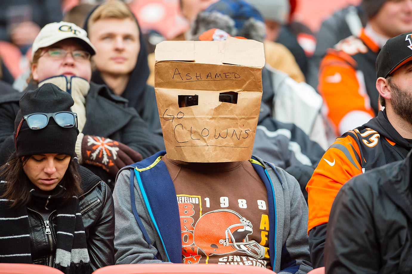 A Cleveland Browns fan expresses disappointment.