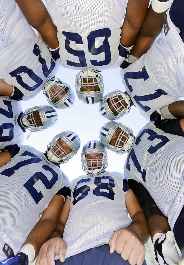 Zack Martin (70), Ronald Leary (65), Tyron Smith (77), Mackenzy Bernadeau (73), Doug Free (68), Travis Frederick (72) and Jermey Parnell (78).