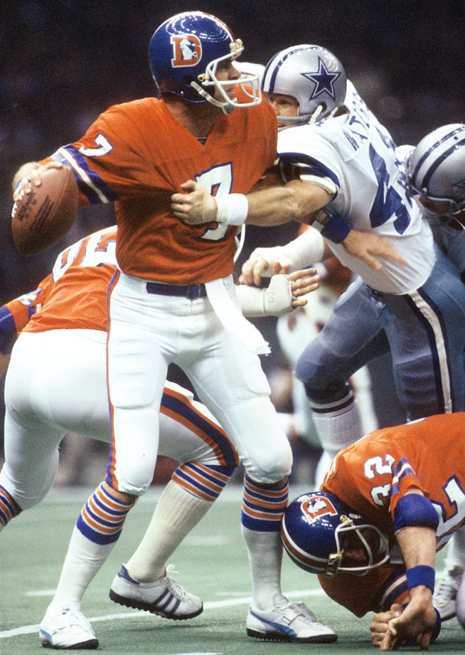 Broncos quarterback Charlie Morton looks to pass against the Cowboys during Super Bowl XII at the Louisiana Superdome on Jan. 15, 1978.  Morton completed 4 of 15 passes for 39 yards and 4 interceptions in Denver's 27-10 loss to Dallas. Based on the assumption that it gets no worse than zero — Morton's record-low passer rating on this day — this is easily the worst performance by any quarterback in Super Bowl history. (Posted Jan. 30)