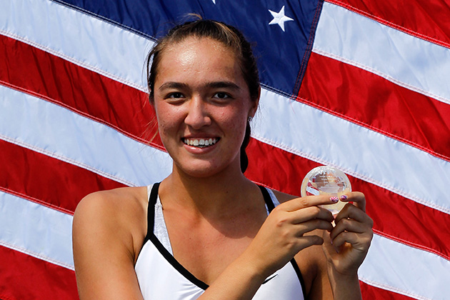 Crawford after winning her junior girls' final against Anett Kontaveit in 2012.