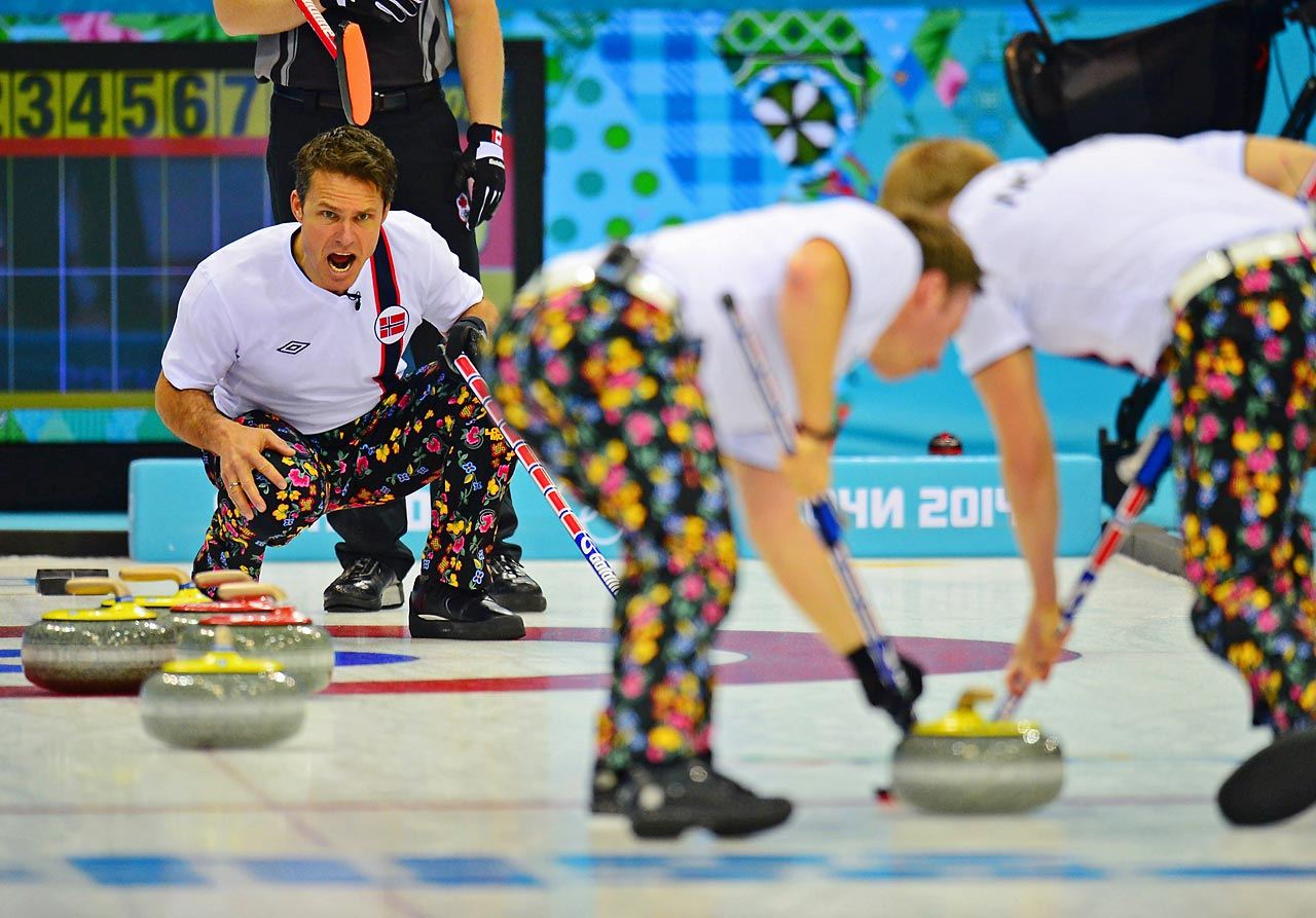 Thomas Ulsrud of Norway competes with his teammates against Canada.