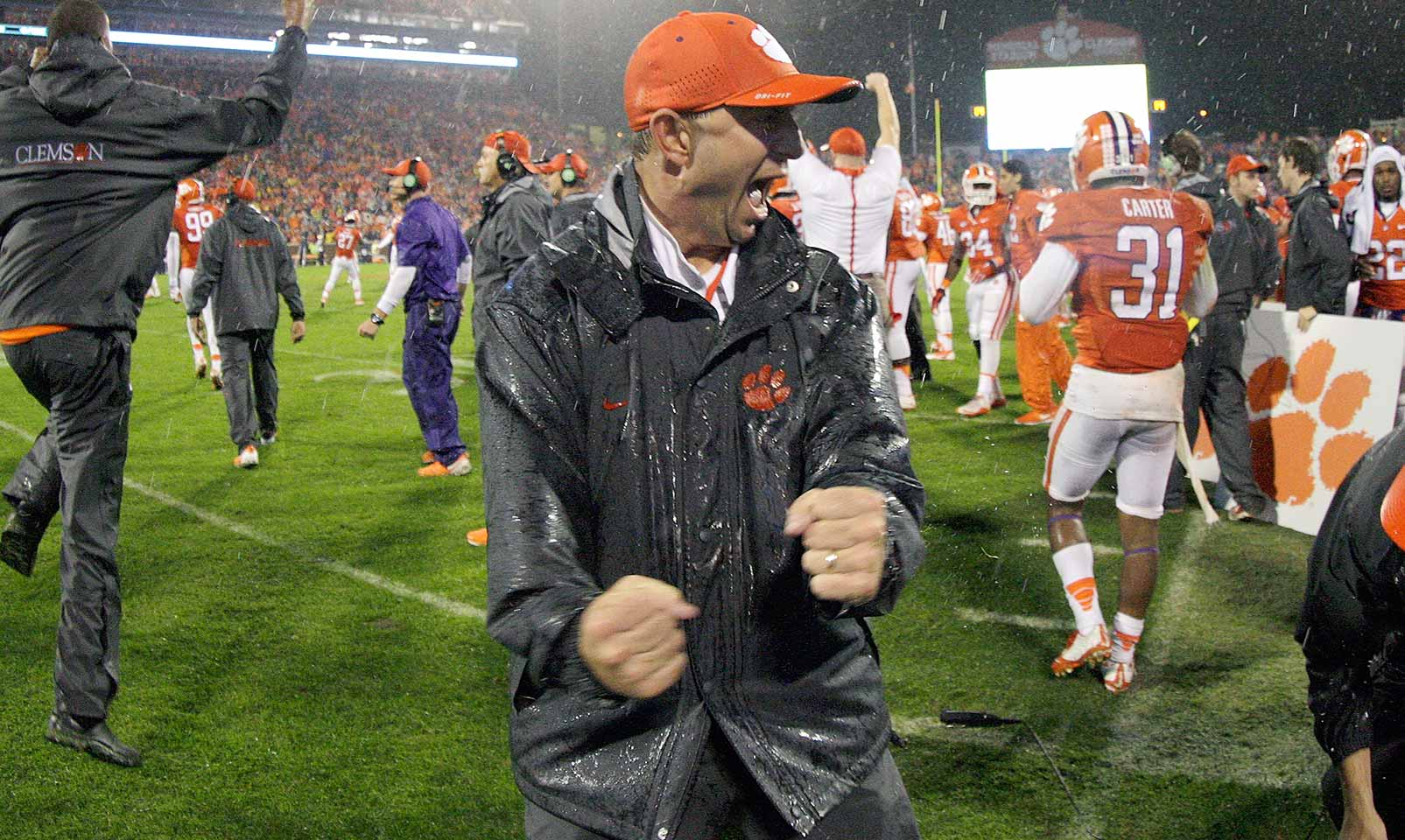 "Clemson 24, Notre Dame 22: The Tigers prevailed in pouring rain when Carlos Watkins wrapped up Fighting Irish quarterback DeShone Kizer on a potential game-tying two-point try with seven seconds left. A jubilant Dabo Swinney declared after the win, ""It was BYOG, bring your own guts."""