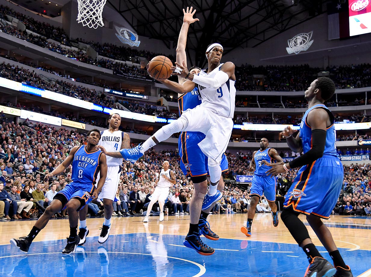 New Dallas Mavericks point guard Rajon Rondo (9) looks to pass during a game against the Oklahoma City Thunder in Dallas.