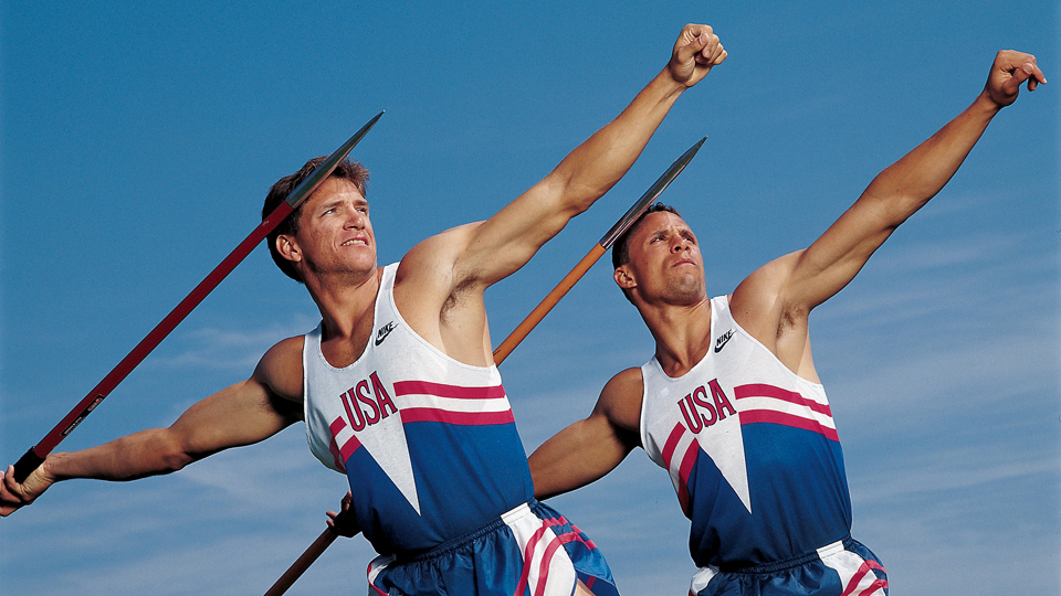 Dan O'Brien and Dave Johnson pose with javelins during a photo shoot at the 1992 Barcelona Olympic Games.