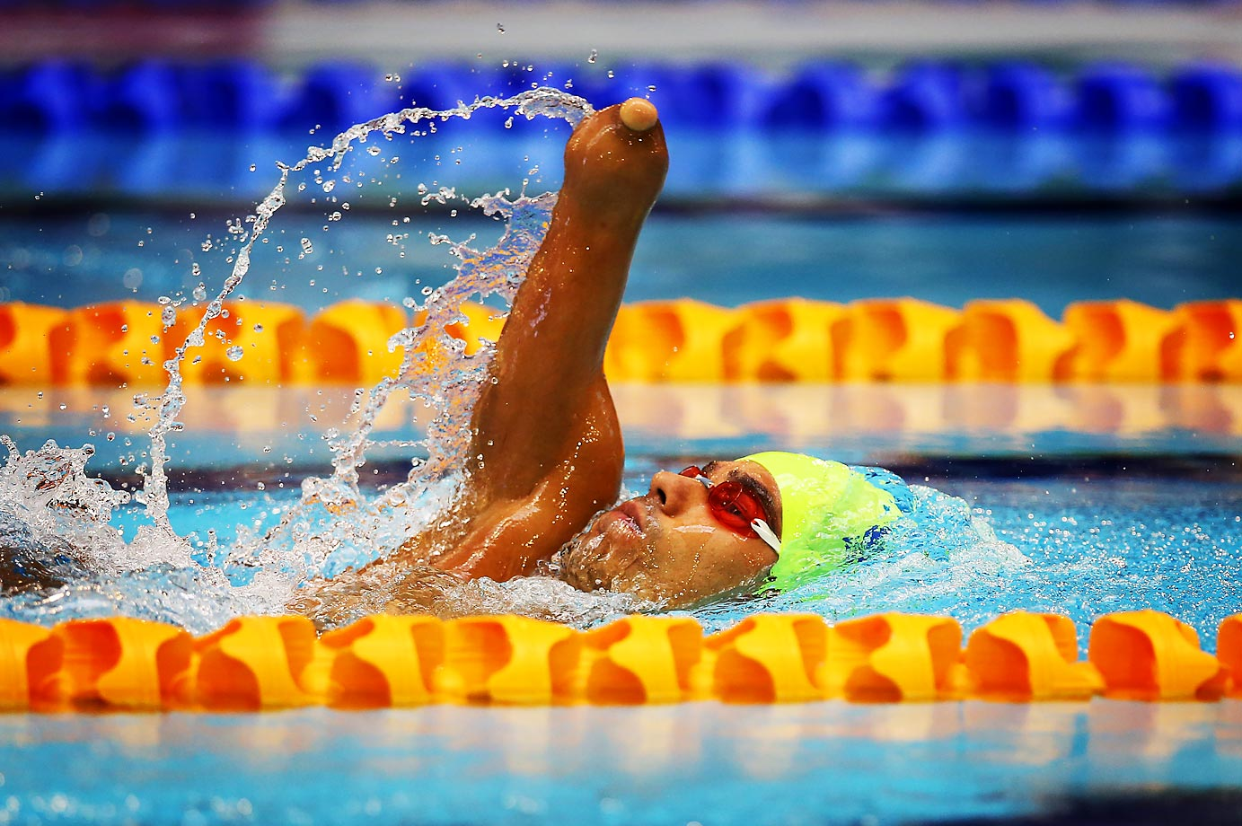 Daniel Dias of Brazil competes in the 50m Backstroke S5 during Day One of The IPC Swimming World Championships in Glasgow, Scotland.