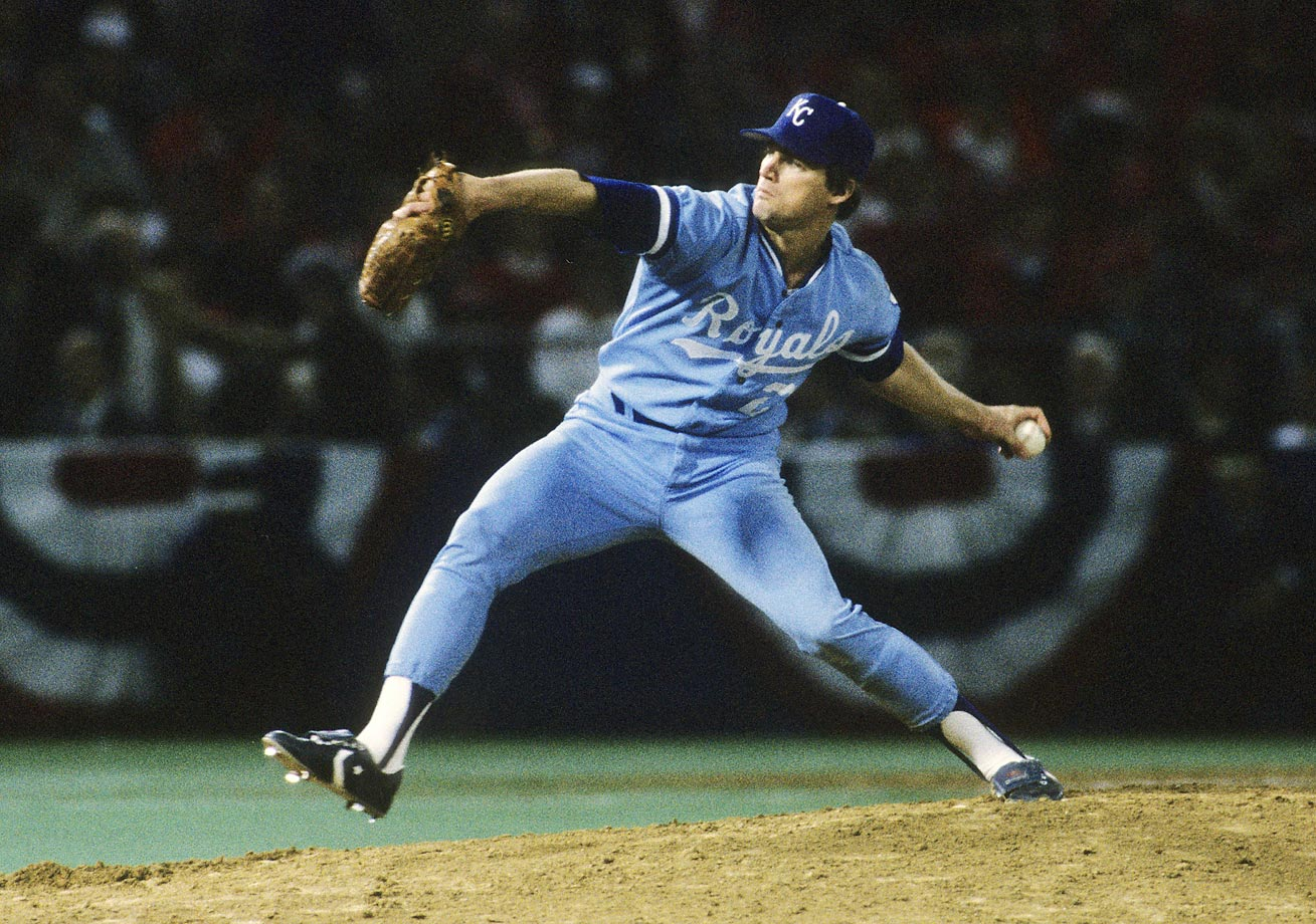 Danny Jackson pitches to the Cardinals during Game 5. The Royals improved their playoff elimination games record to 4-0 with the win.