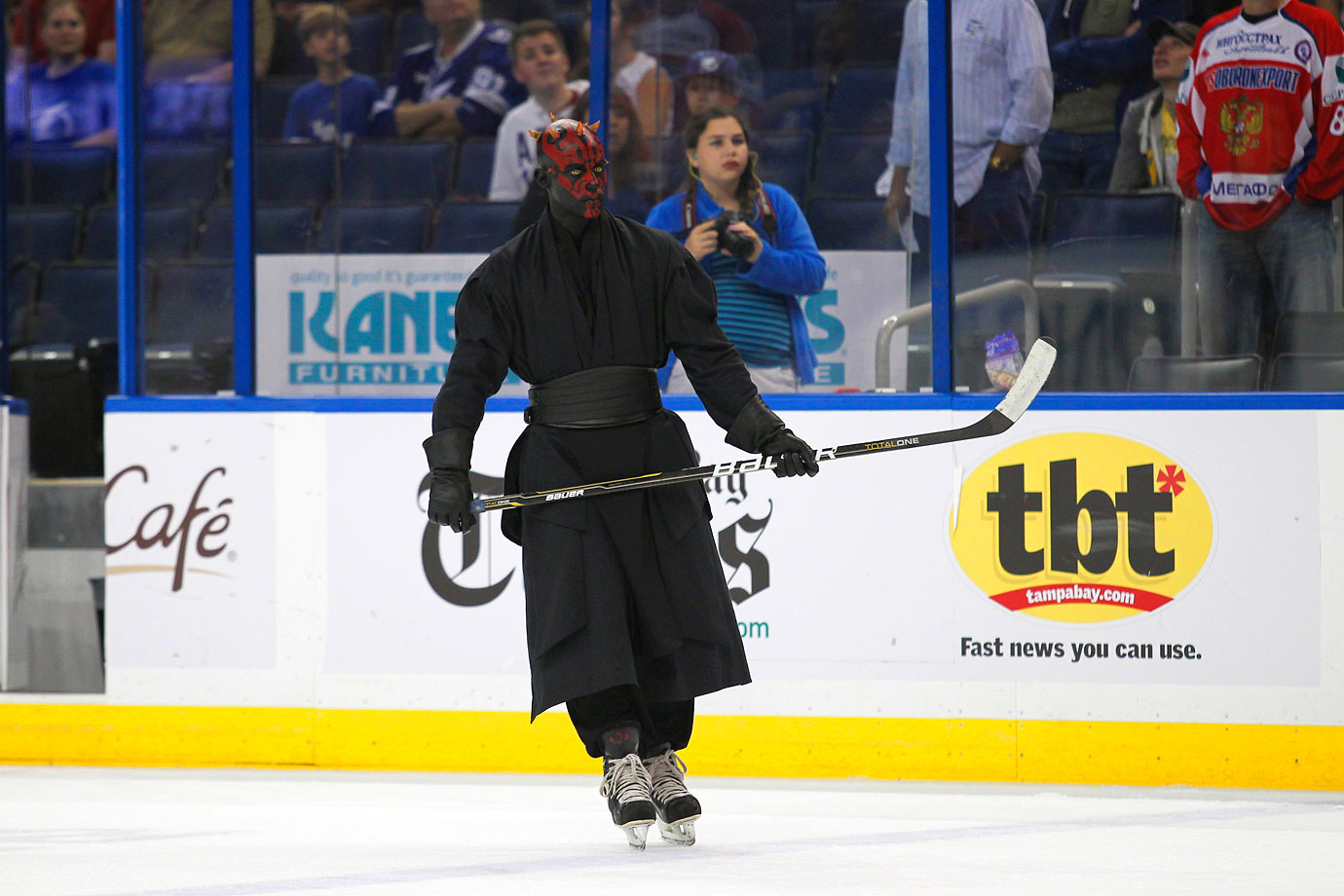 Darth Maul skates on the rink during a promotion between periods of a game between the San Jose Sharks and the Tampa Bay Lightning on Feb. 16, 2012 at the Tampa Bay Times Forum.