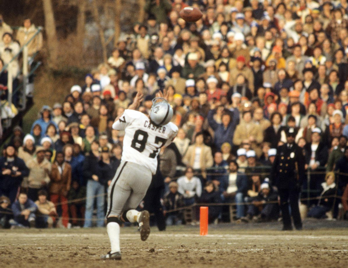 "1977: Dave Casper's ""Ghost to the Post"" over-the-head catch that set up the tying field goal in Oakland's 37-31 OT playoff win over Baltimore."