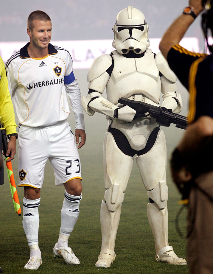 LA Galaxy midfielder David Beckham and a clone trooper pose for photographers during pregame festivities of an MLS soccer match against DC United on Sept. 20, 2008 at The Home Depot Center in Los Angeles.