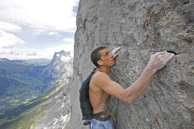 Potter carries out the first ever free solo climb of the Eiger with parachute (freebase) in August 2008 in Switzerland.