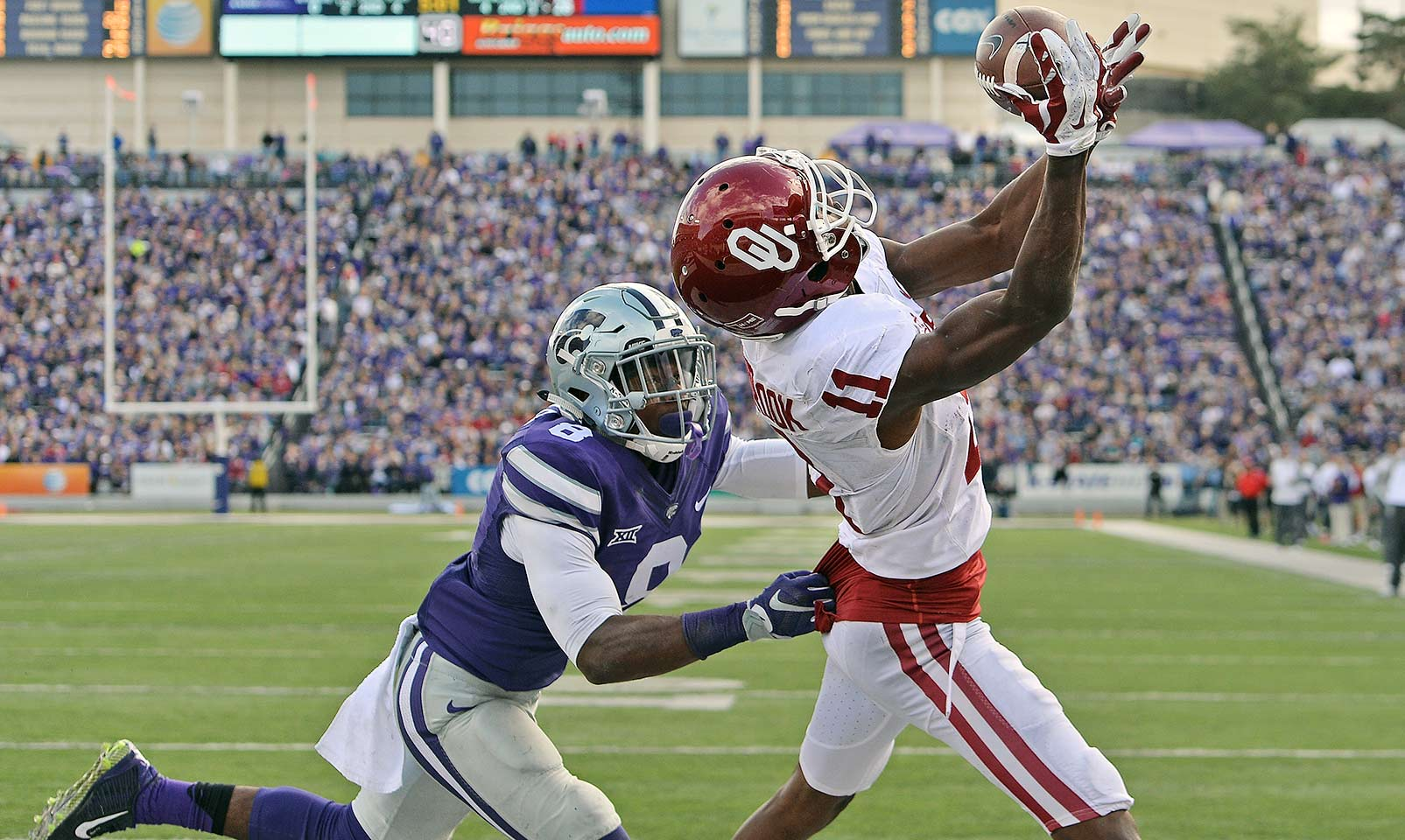 Oklahoma 55, Kansas State 0: The Sooners took out their frustrations from the loss to Texas on the Wildcats, pummeling them for 568 yards of offense while holding them to 110. Baker Mayfield tossed five touchdowns, and Zack Sanchez contributed a pick-six.