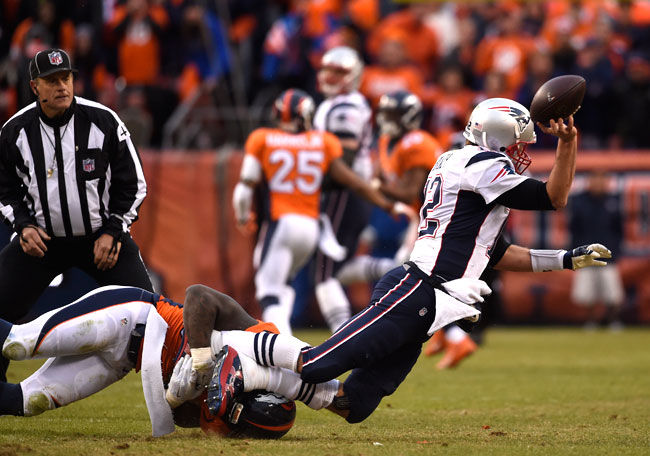 Brady was sacked four times by the Broncos and hurried into awkward throws on multiple other occasions.