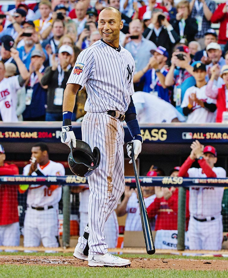 New York Yankee shortstop Derek Jeter pauses before his first at-bat to remove his helmet and acknowledge a standing ovation at the start of the 85th MLB All-Star Game at Target Field in Minneapolis, Minnesota.