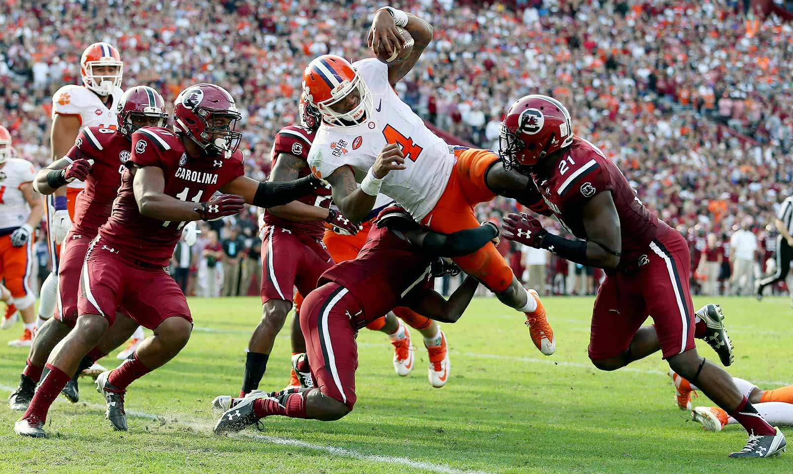Clemson 37, South Carolina 32: With the Tigers needed him most, Deshaun Watson delivered. The quarterback led Clemson on a 75-yard drive, contributing all but three yards himself, to reach the end zone and put the Gamecocks away after they closed within three in the fourth quarter.