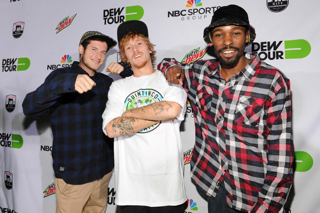 Chris Colbourn, Jordan Maxham and Travis Glover walk the green carpet at the Dew Tour Brooklyn Kickoff Party.