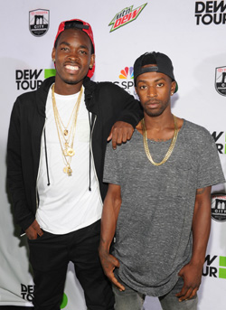 Theotis Beasley and Keelan Dadd walk the green carpet at the Dew Tour Brooklyn Kickoff Party.