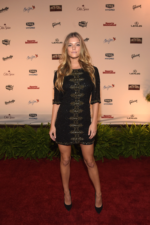 Nina Agdal in Alice + Olivia and Jimmy Choo shoes
