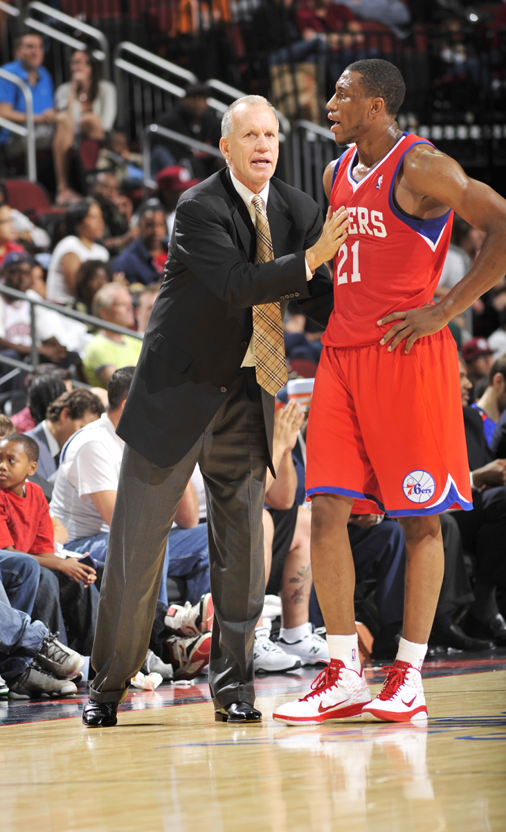 Doug Collins and Thaddeus Young (2010) :: Getty Images
