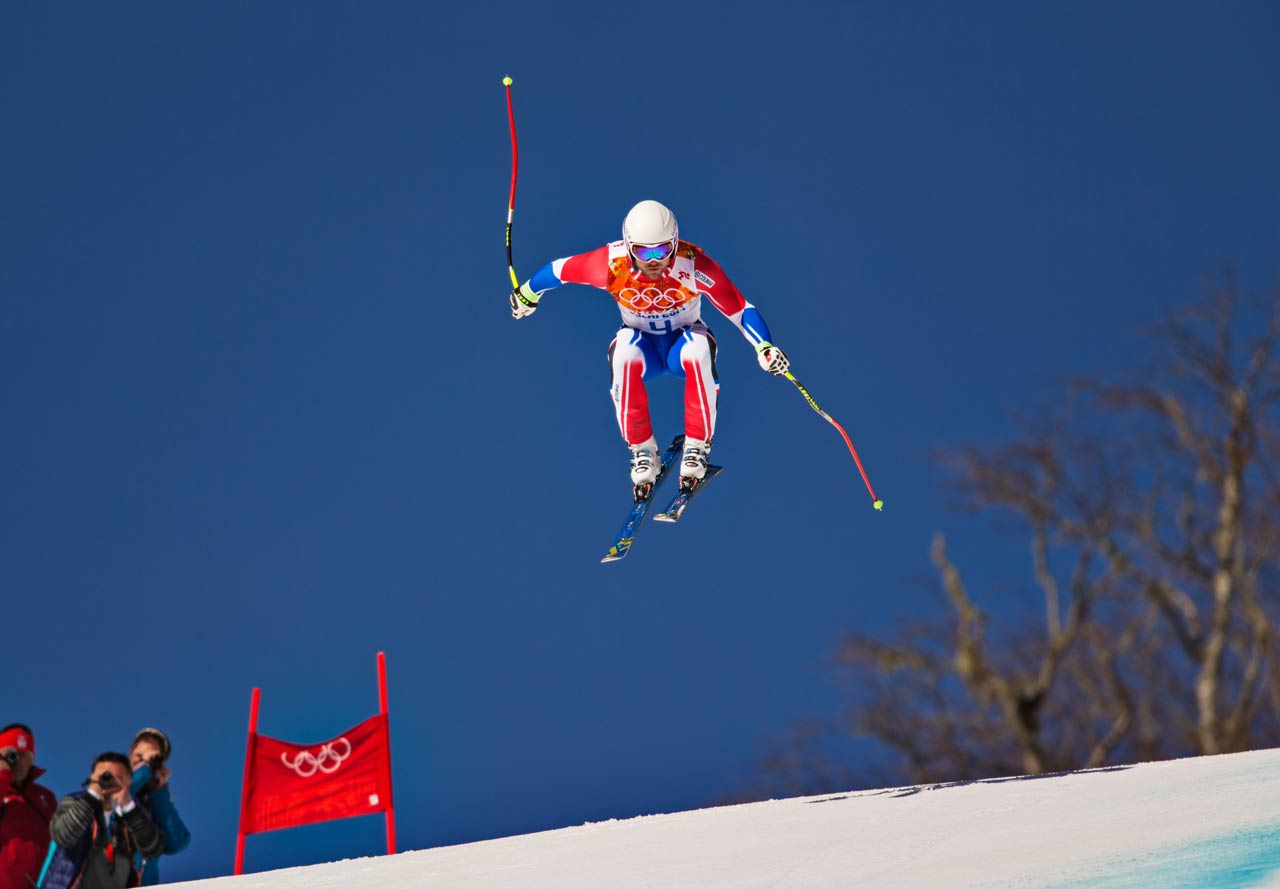 A competitor gets in a run during the men's downhill training. Bode Miller of the U.S. had the fastest time.