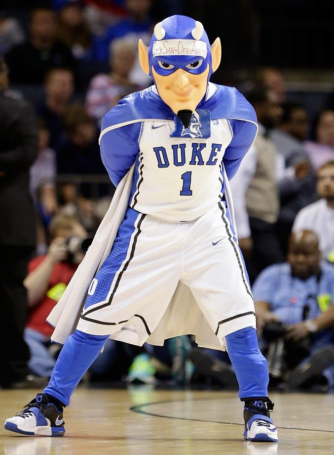 No. 6: The horned, muscular Blue Devil has a simple but bold color scheme and he's known for putting messages on the tape across his forehead. (Text credit: Andrew Wittrey/SI.com)