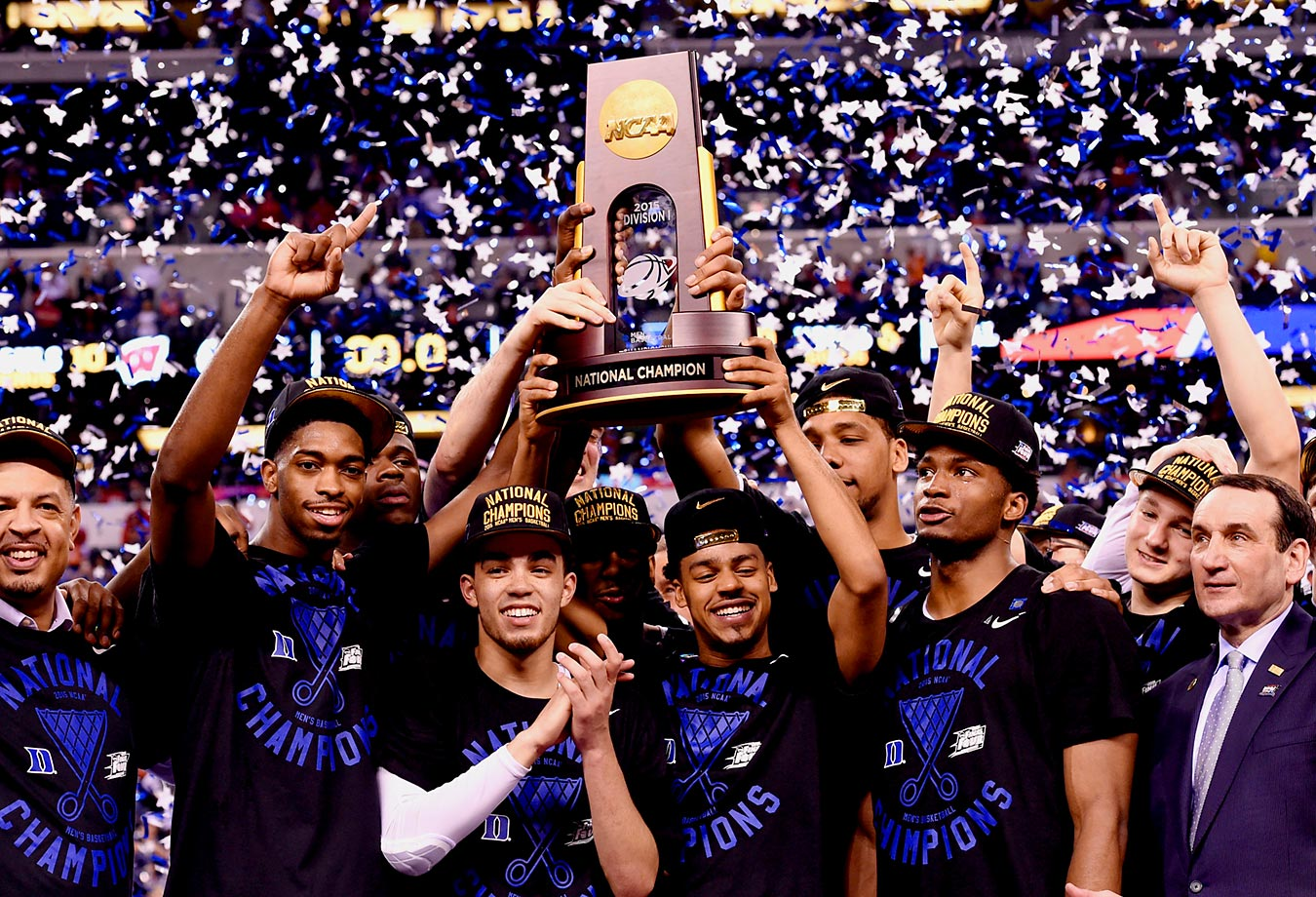 Behind a trio of freshman, Duke won its fifth championship in program history (all under coach Mike Krzyzewski, defeating Wisconsin 68-63 in the title game. Youngsters Jahlil Okafor, Tyus Jones and Justise Winslow carried the Blue Devils all season before declaring for the NBA Draft, and fellow-freshman Grayson Allen stepped up for 16 points off the bench against the Badgers. The championship moved Krzyzewski into sole possession of second place all-time, behind only John Wooden and his 10 titles.                                          (Text credit: Alex Putterman/SI.com)