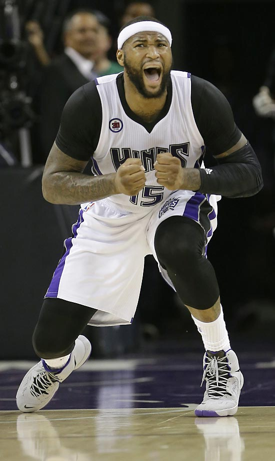 Sacramento Kings center DeMarcus Cousins reacts after being called for a foul in a game against the Atlanta Hawks.  The Hawks won 110-103.