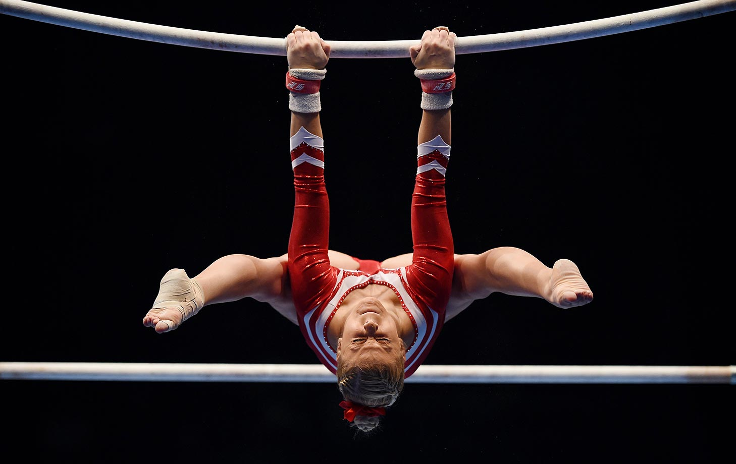 Elisabeth Seitz competes in the Uneven Bar during the DTL Finals in Karlsruhe, Germany.