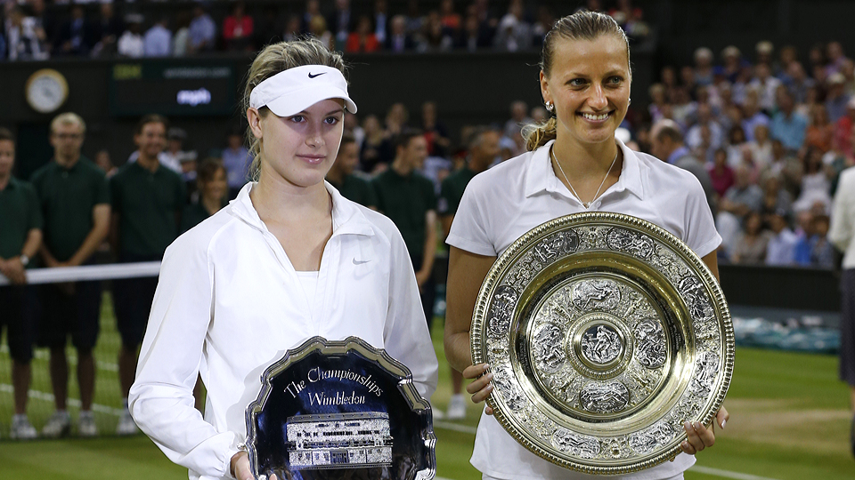 Petra Kvitova (right) poses with the Venus Rosewater Dish after defeating Eugenie Bouchard to win her second Wimbledon title.
