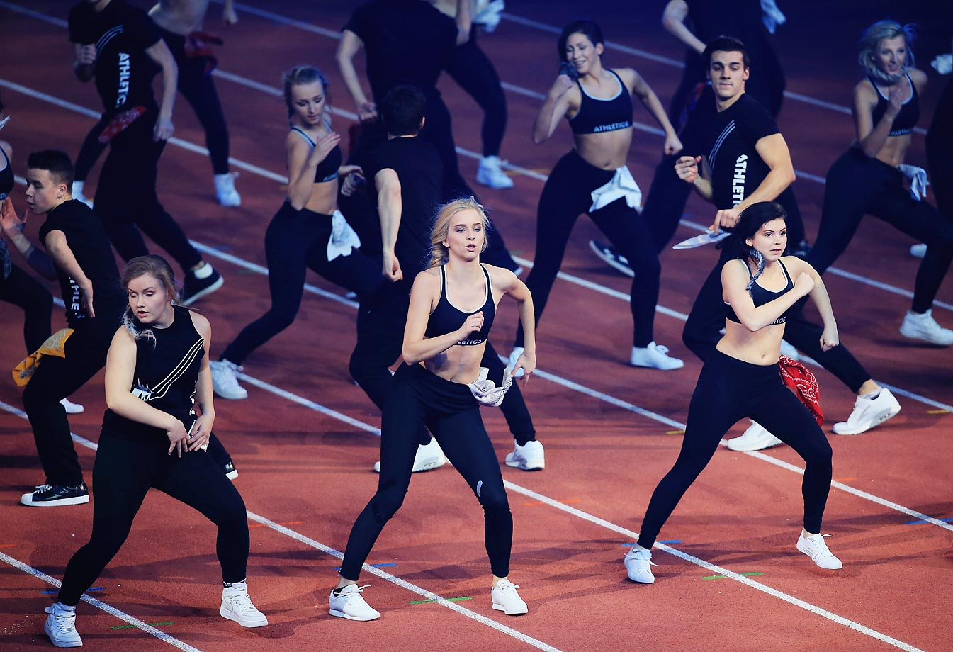 Performers during the Opening Ceremonies of the European Athletics Indoor Championships in Prague, Czech Republic.
